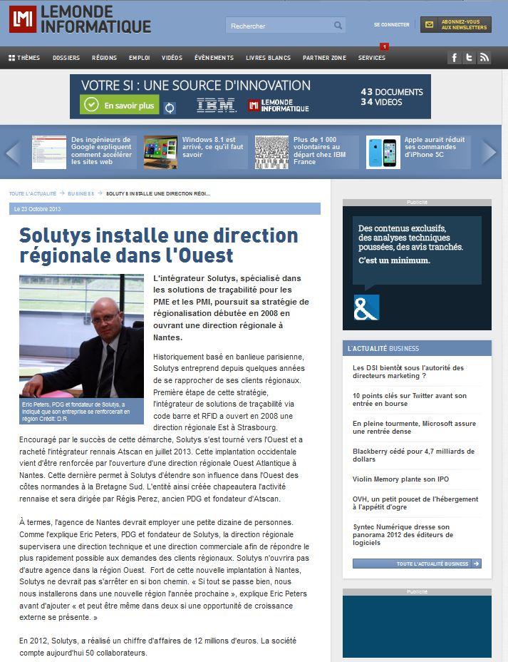 l'ouverture de la Direction Régionale Ouest dans Le Monde Informatique