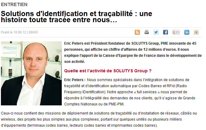 Interview d'Eric Peters, Président de SOLUTYS Group