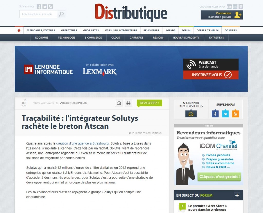 Acquisition d'ATSCAN par SOLUTYS Group