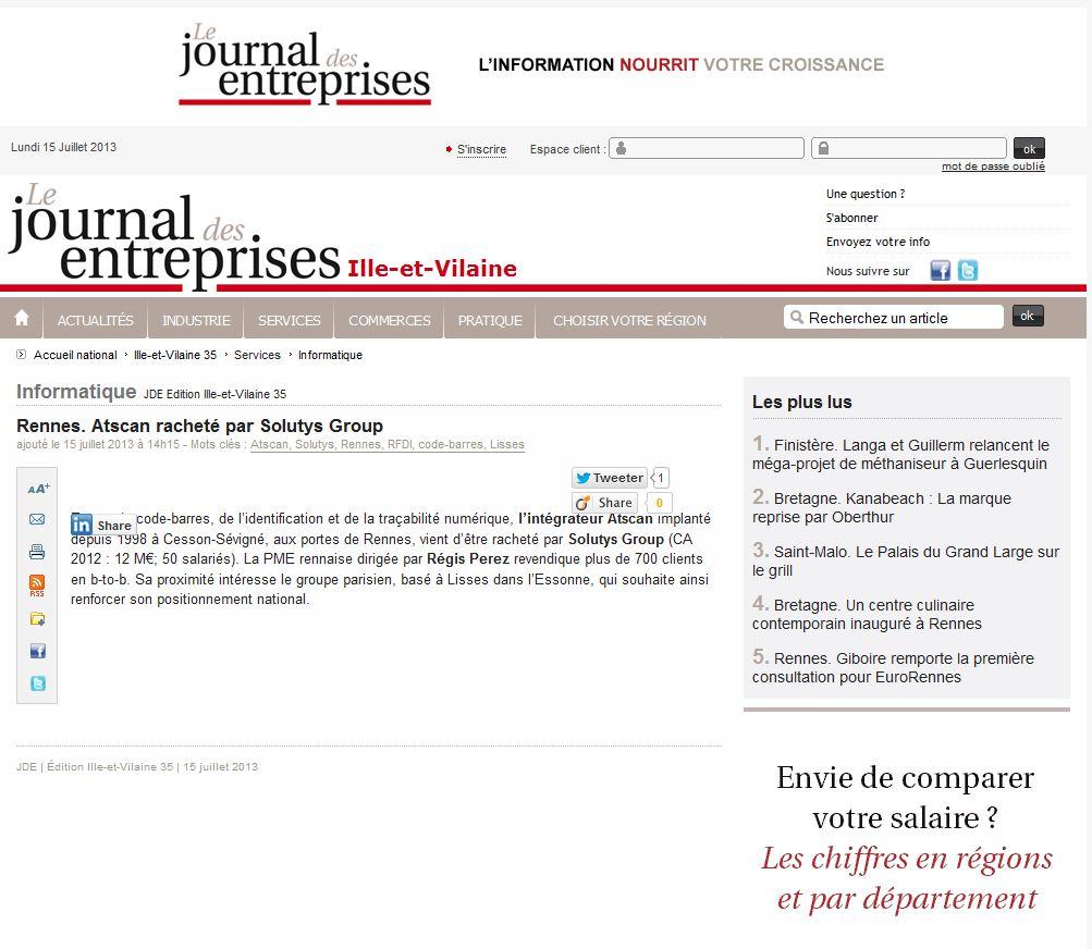 L'acquisition d'ATSCAN par SOLUTYS Group fait la Une du Journal des Entreprises