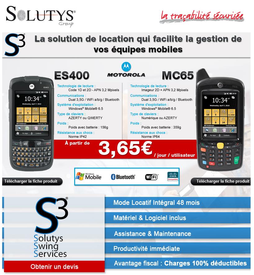 Louez vos PDA Motorola ES400 et MC65 avec SOLUTYS